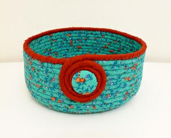 Pretty Small/Medium Size Fabric Coiled Bowl/Basket by DMcGettigan, $20.00
