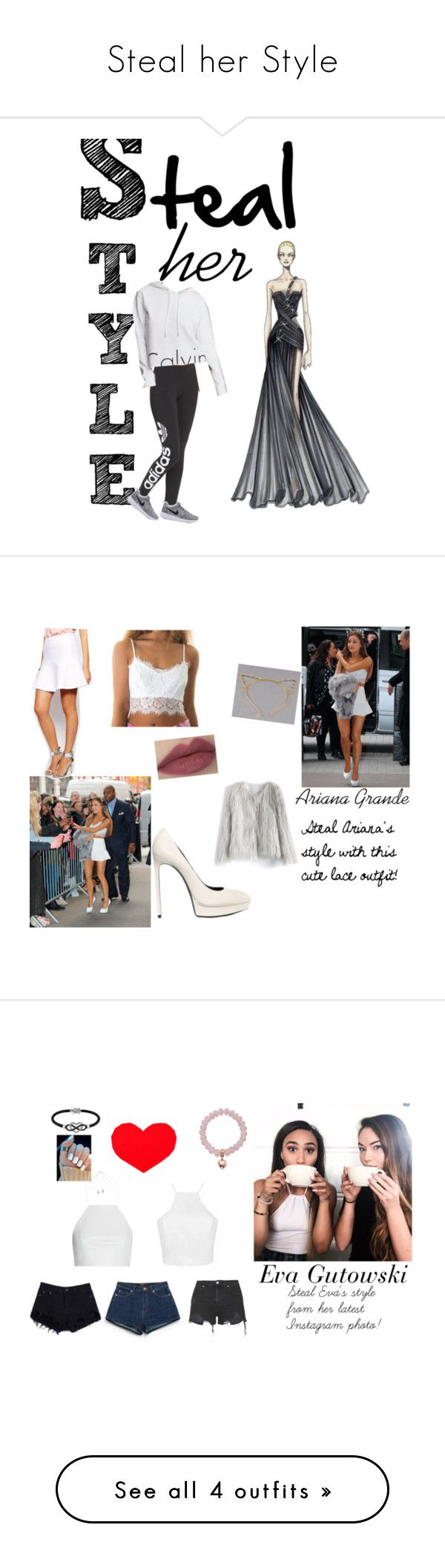 Steal her Style by lidage on Polyvore featuring Versace, adidas Originals, Calvin Klein, Ted Baker, Chicwish, lace, followme, ArianaGrande, Stealherstyle and lacelook