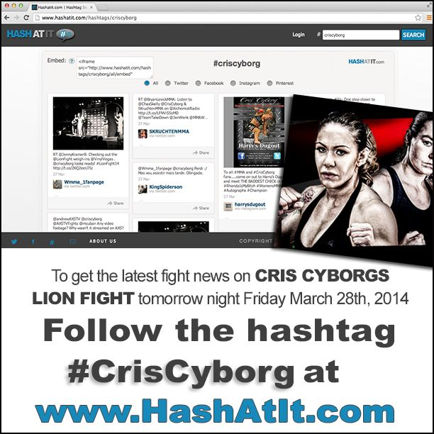 "We are excited to announce that Hashatit is a proud sponsor of Cristiane ""Cyborg"" Santos Lion Fight Promotions Muay Thai fight tomorrow night at the Joint in Hard Rock Hotel and Casino Las Vegas! To get the latest fight news and updates on tomorrow nights fight... follow the hashtag #CrisCyborg at www.hashatit.com   #weighins #wmma #hashatit #proudsponsor #muaythai"