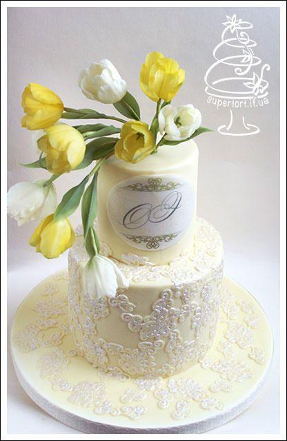 Yellow Tulips Wedding Cake by Uliana Kotsaba - http://cakesdecor.com/cakes/235513-yellow-tulips-wedding-cake