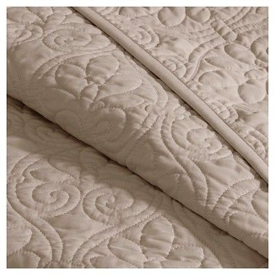 Vancouver Quilted Coverlet Set (King/California King) Khaki (Green) - 3-Piece
