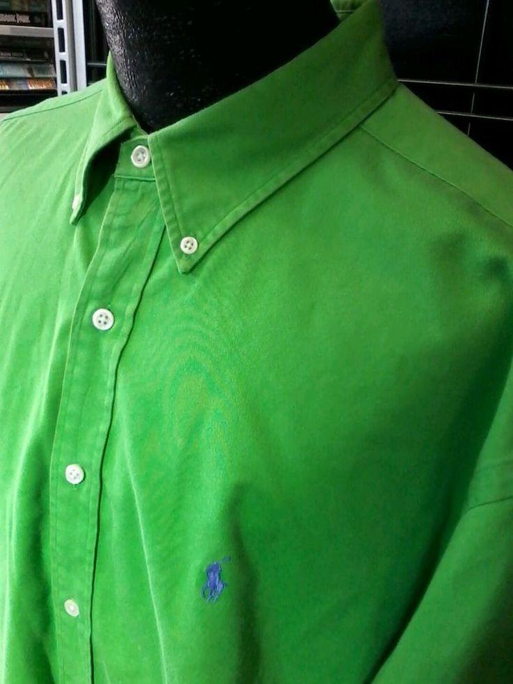 Ralph Lauren BLAKE 1X Mens Shirt Size Extra Large XL Button Down Atomic Green  #RalphLauren #ButtonFront