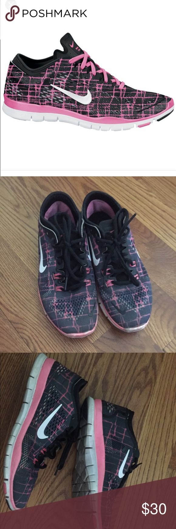 Nike ladies 🆓5.0 Trainer TR FIT 4 Nike ladies 🆓5.0 Trainer TR FIT 4. Fun pink and black coloring. Perfect for all types of workouts and adventures. Used condition with some dirt spots as shown in pictures. RN 629832-003 Nike Shoes Athletic Shoes
