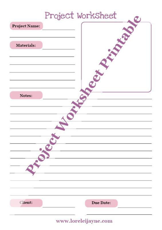 cool free Project Worksheet printable for organizing craft projects. Can be used for sewing or paper craft