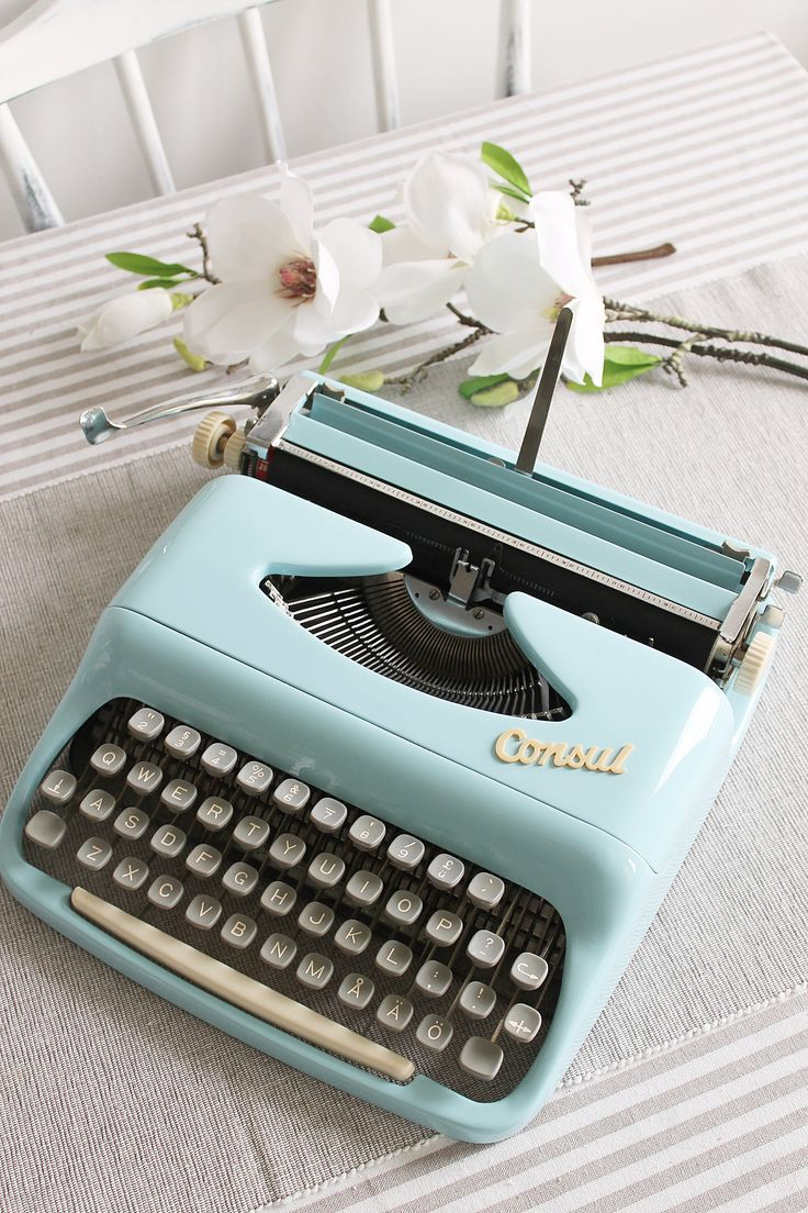Consul Baby blue retro portable small working typewriter with case , made in Czechoslovakia by Cottoni on Etsy