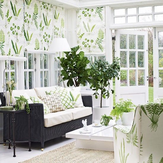 White and Green Chic Living Room Lounge
