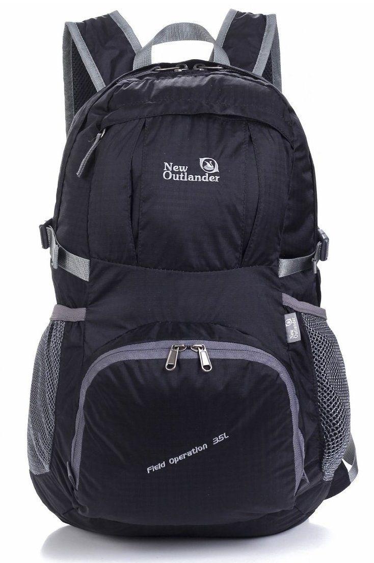 Large Packable Handy Lightweight Travel Backpack Daypack, Black