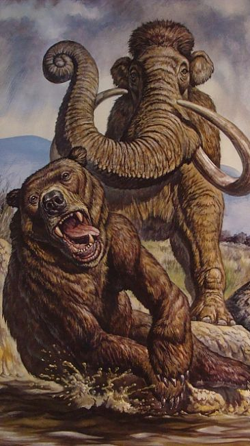 Knockout - Short Faced Bear, Columbian Mammoth by Mark Hallett