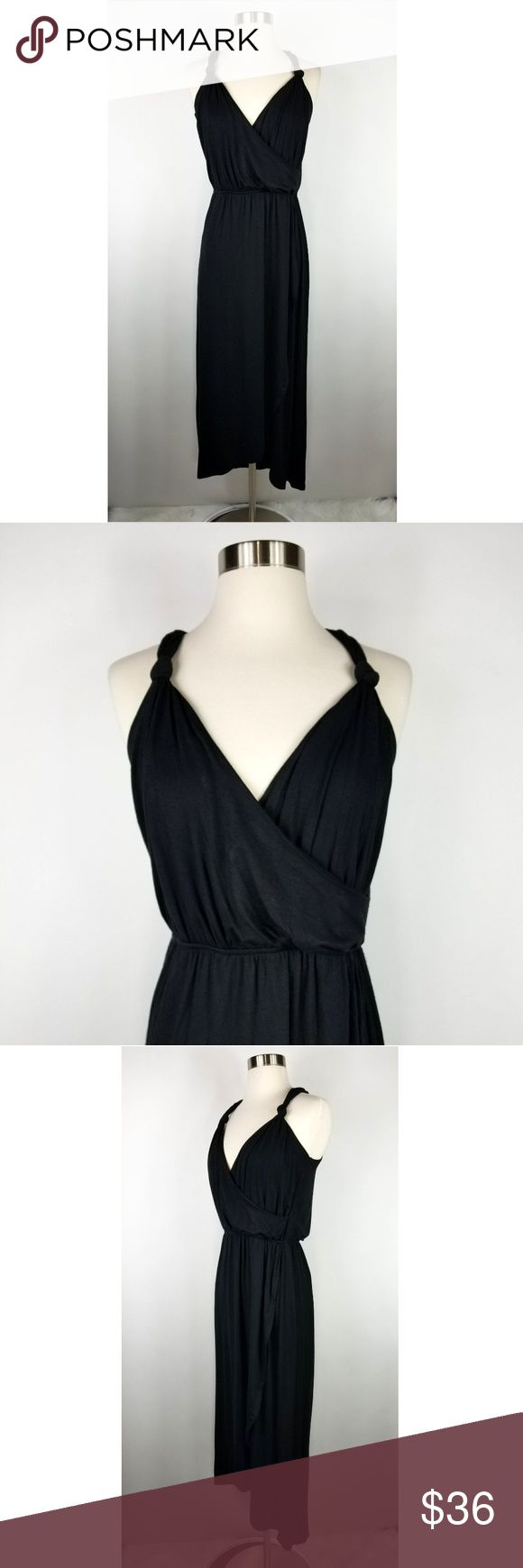 """The Vanity Room Black Knot Strap Jersey Dress NEW The Vanity Room surplice knot strap jersey knit dress. Size M. Made of a stretchy rayon spandex blend. New with tags. (Sku:BN-B)  18"""" armpit to armpit  12.5"""" across at waist unstretched; 16"""" across when stretched 19"""" across at hip 45"""" long in front; 57"""" long in back The Vanity Room Dresses"""