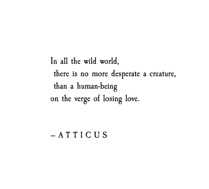 In all the wild world, there is no more desperate a creature, than a human being on the verge of losing love.