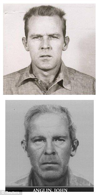 John Anglin showing in his younger and projected older self, a combination handout photo from U.S. Department of Justice.