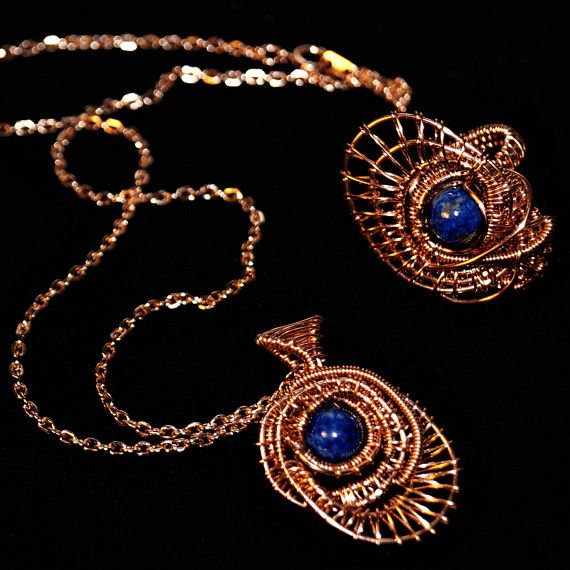 Lapis Lazuli Necklace Woven Copper Necklace Rose Gold Plated