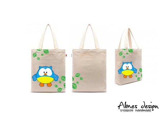 shopper bag- shopper with print - grafica gufo - almesdesign - handmade -
