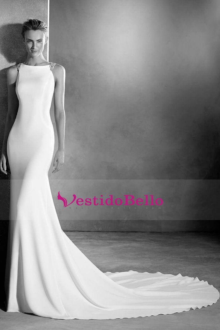 2016 vestidos de boda de la cucharada de la sirena espalda abierta con rebordear Spandex