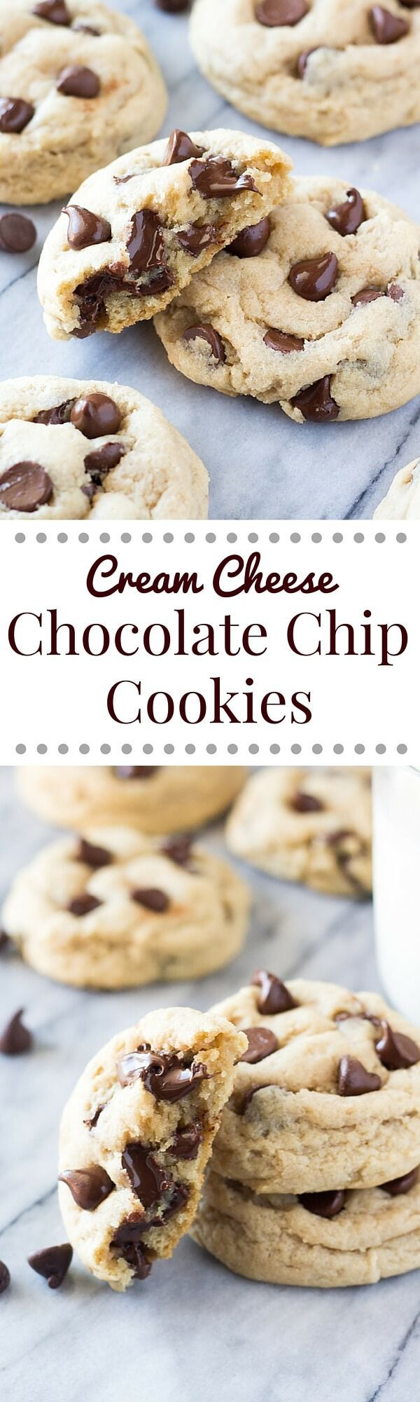 Are you ready for the softest, thickest, chewiest, most delicious cookie? These cream cheese chocolate chip cookies are just THAT amazing #chocolatechipcookies #cookies #recipes
