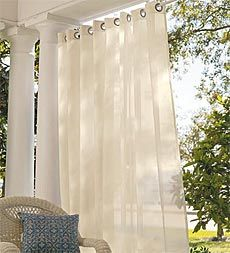 Outdoor curtains are a great way to soften your porch and keep your patio furniture from fading, Just make sure that its treated fabric so the elements don't destroy them!