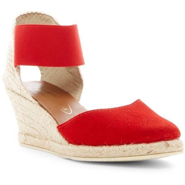 Sheridan Mia Iman Wedge Pump ($70) ❤ liked on Polyvore featuring shoes, pumps, red, red espadrilles, platform espadrilles, wedges shoes, red ankle strap pumps and suede platform pumps #platformpumpsanklestraps #platformpumpswedges