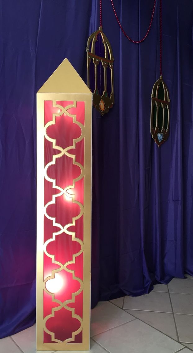 Andrea's Arabian Nights: My own props : pilar lamp cutout foam board, painted gold, glued vinyl table cloth and recycled lamp