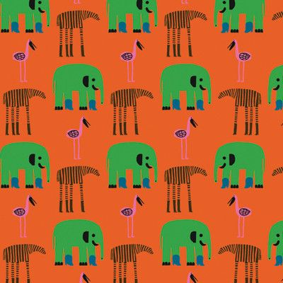 "Marimekko Karkulaiset 33' x 27"" Elephants Wallpaper Roll Color: Orange / Green"