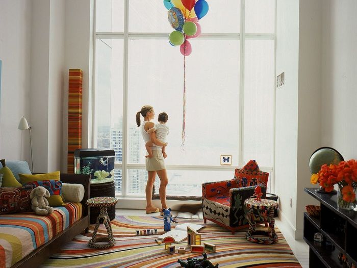 Kelly Behun The Irregularly Curving Rainbow Colored Stripes Of Contemporary Rug Meet Straight Colorful PlayroomNew York
