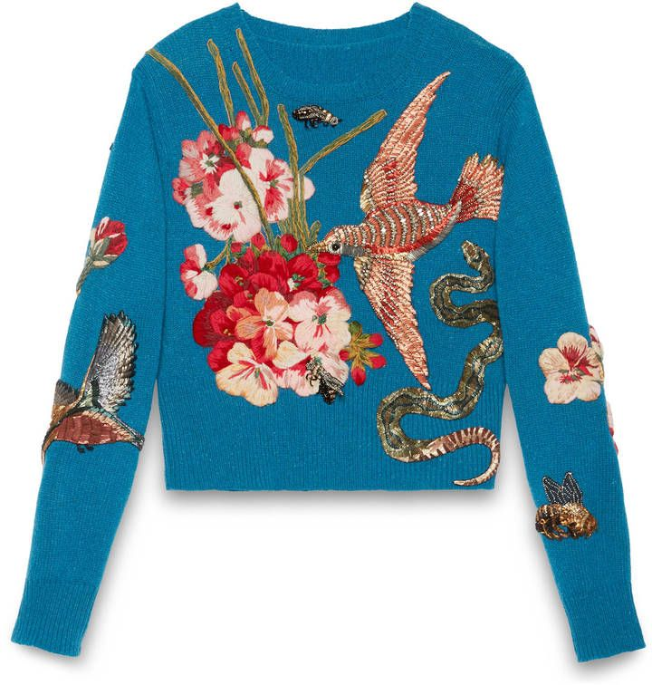 Gucci Embroidered wool knit top