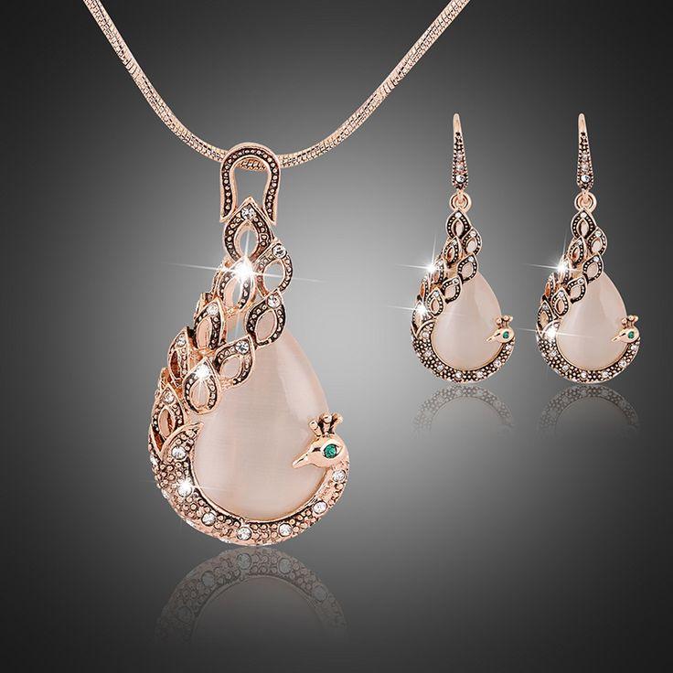 KC Jewelry set Mode Baru rose Gold Diisi opal Kristal Merak Kalung Anting Pernikahan perhiasan Set untuk wanita