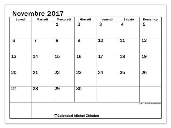 Calendario per stampare novembre 2017 - Tiberius