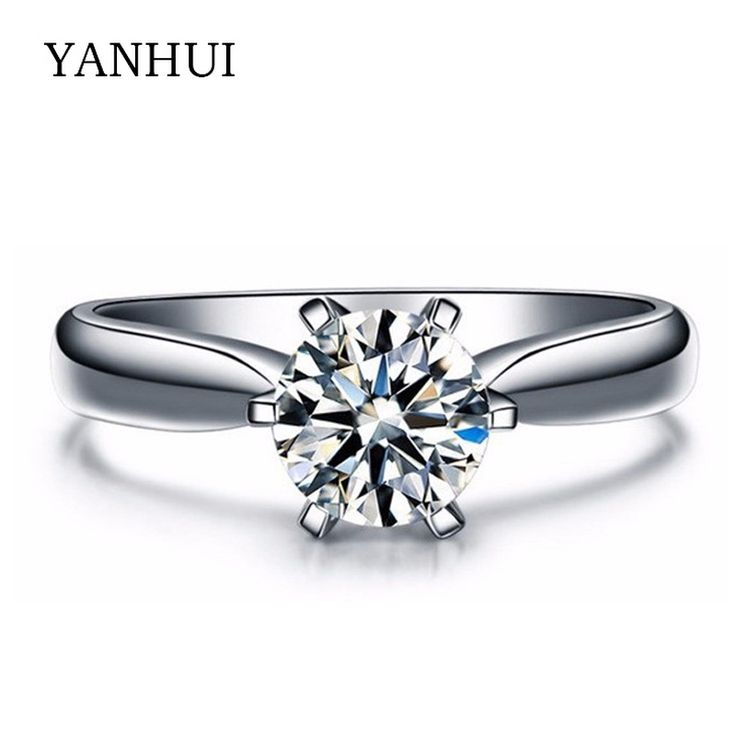 95% OFF! Have 18KRGP Stamp White Gold Plated Engagement Ring Hearts and Arrows 1 Carat CZ Diamond Wedding Rings For Women JZR003