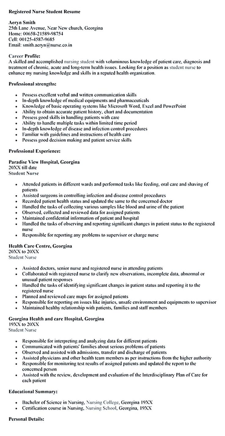 Nursing Student Resume Samples and Tips Student resume