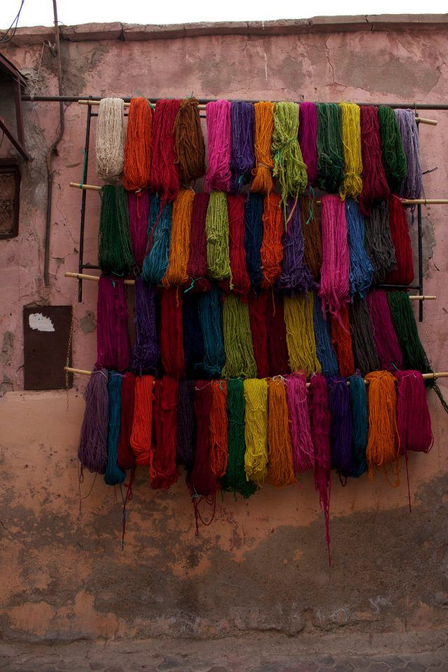 Colorful yarns hanging in Morocco