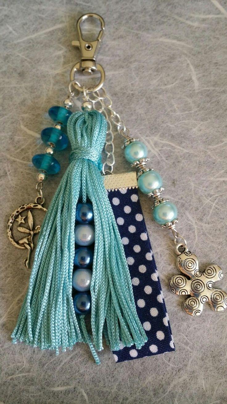 Bijoux de sac / porte clés bleu turquoise (BS-006)