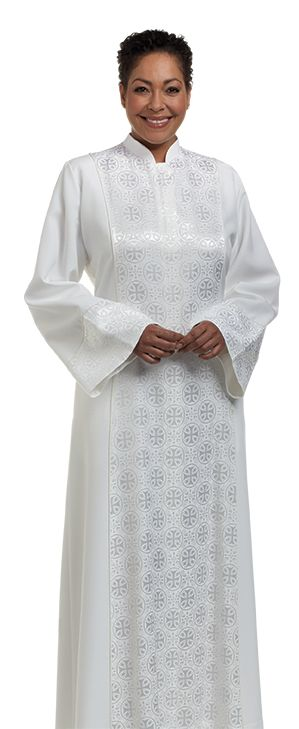 Women's Clergy Robe Abigail White with Brocade-H-198