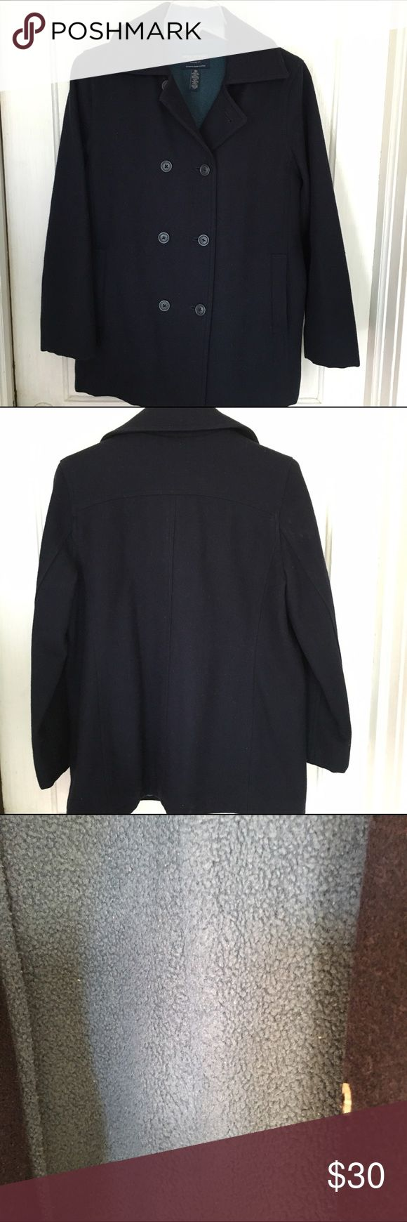 AE Outfitters Navy Wool Blend Pea Coat Wool blend coat with warm fleece lining & 2 front pockets. No defects, but has been worn & has some lint deposits. Also has been in storage, so may have an odor. Recommend cleaning before wearing. American Eagle Outfitters Jackets & Coats Pea Coats