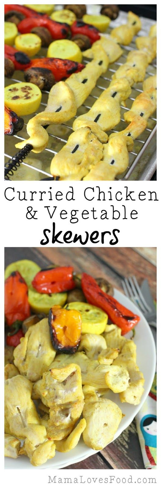 Curried Chicken and Vegetable Skewers