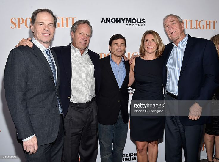Tom Ortenberg, CEO of Open Road Films, Journalists Ben Bradlee, Jr., Michael Rezendes, Sacha Pfeiffer and Walter Robinson attend the Screening of Open Roads Films' 'Spotlight' on (November 3, 2015) in Los Angeles, California.