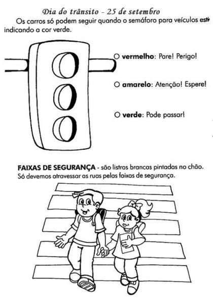 desenhos para colorir para educacao no transito semaforo