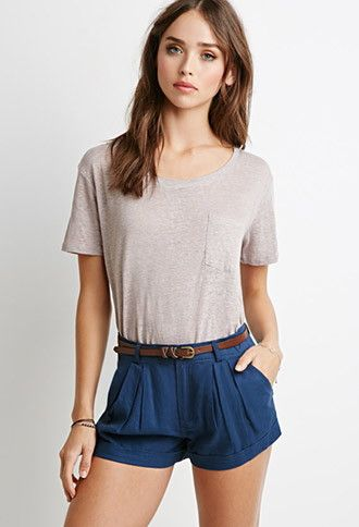 Belted Pleat-Front Shorts | Forever 21 - 2000130689