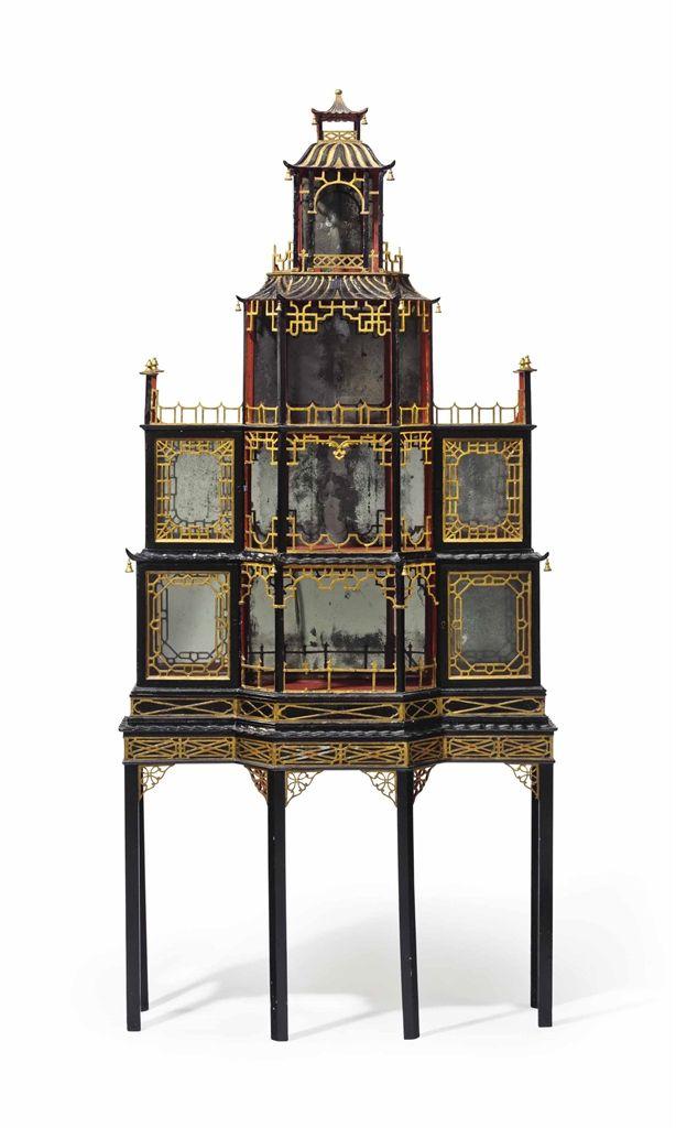 George II Gilt red & black pagoda-form cabinet Ca 1755