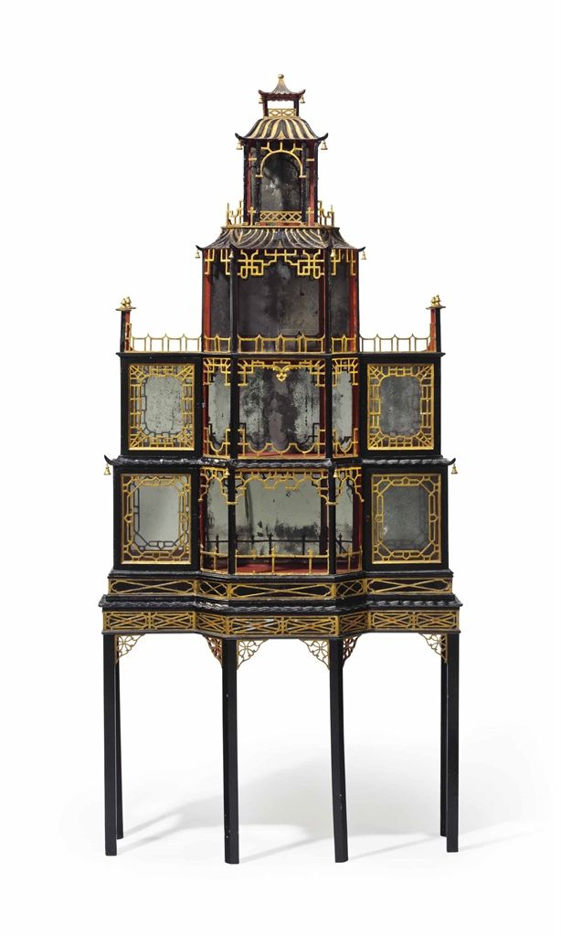 A GEORGE II BLACK, GILT AND RED-PAINTED PAGODA-FORM DISPLAY CABINET - CIRCA 1755, THE STAND PROBABLY 19TH CENTURY