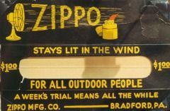 Eine Werbetafel für die von George Blaisdell aus Österreich importierte Hurricane - Sturmfeuerzeug.