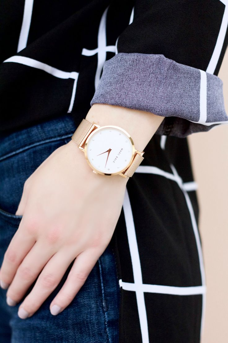 Check it Out: The Grid Print Blouse Part 1 // @shesawstyle Marc Bale Rose Gold Crystal Mesh watch by @thepeachbox