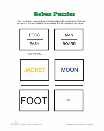 I have been trying to remember what these fun puzzles were called. Now I know! Worksheets: Rebus Puzzles