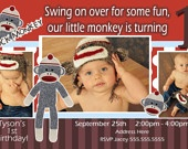 Mod Monkey Invitation Mod Monkey invite Photo - 1st Birthday Party Boy pictures invite - 1 year old (multiple options available). $15.99, via Etsy.
