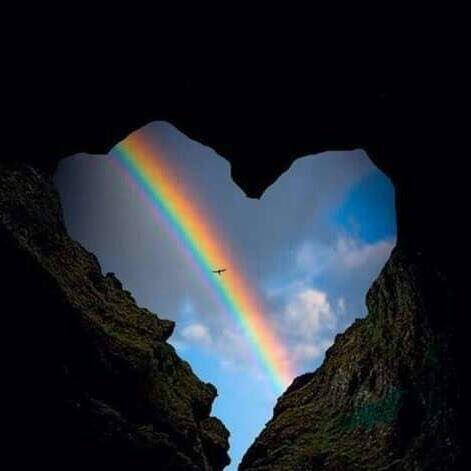 Rainbow through a heart-shaped aperture