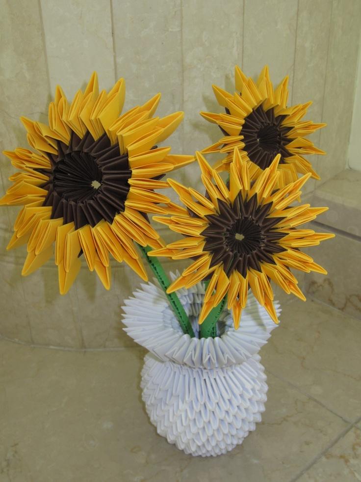 evelyns 3d origami sunflowers origamipaper pinterest