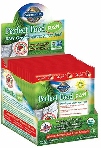Garden of Life Vegan Green Superfood Powder - Raw Organic Perfect Whole Food Dietary Supplement Apple 15 CNT Tray