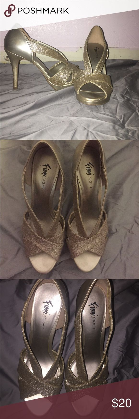 Shoes Prom shoes, worn once, gold/ champagne color, glittery FIONI Clothing Shoes Heels