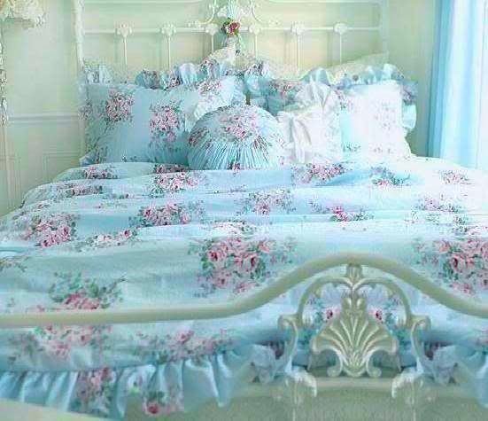 Shabby Cottage Chic Layers Of Dreamy Aqua Teal Ruffles Polka Dot Duvet Comforter Cover Set