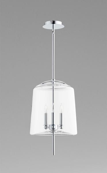 This gorgeous pendant comes in clear or ombre finished glass. Takes 3 60watt bulbs.    Dimensions: 12.5W  12.5D  19.75H