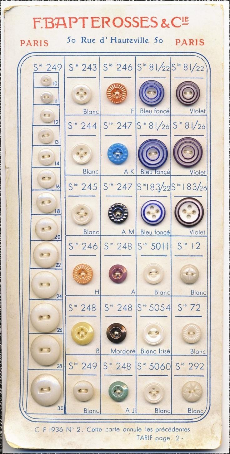ButtonArtMuseum.com - French Antique China Sales Sample Card Bapterosses Cie Paris